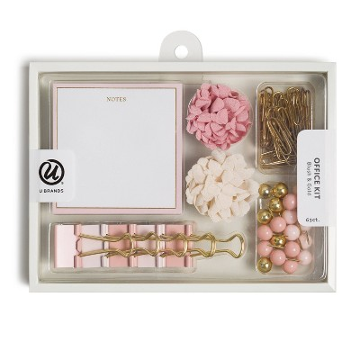 U Brands 63ct Office Accessories Kit with Sticky Notepad - Blush & Gold