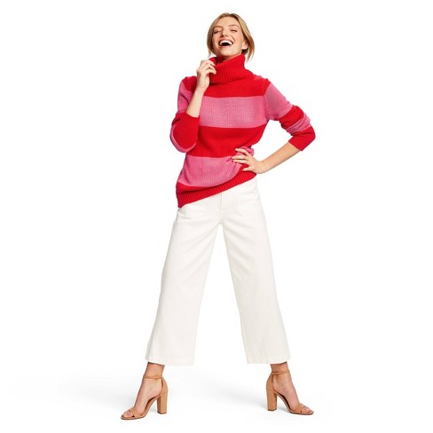 Women's Striped Long Sleeve Turtleneck Pullover Sweater - Isaac Mizrahi for Target Red/Pink - image 1 of 4
