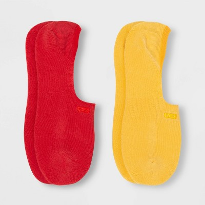 Pair of Thieves Men's Cushion No Show Socks 2pk - Red/Yellow 8-12
