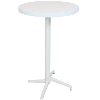 """Sunnydaze 45""""H Round Plastic All-Weather Commercial-Grade Patio Bar Table with Foldable Design, White"""