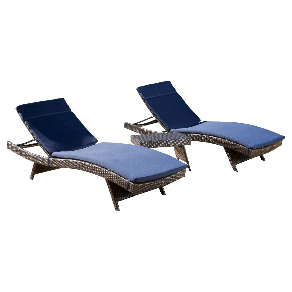 Luana 3pc Wicker Patio Adjustable Chaise Lounge Set with Cushions - Navy Blue - Christopher Knight Home
