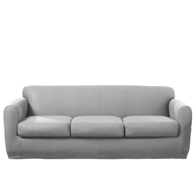 4pc Ultimate Stretch Leather Sofa Slipcover Light Pebbled Gray - Sure Fit
