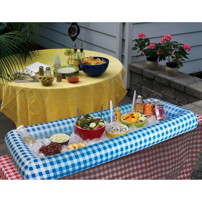 BigMouth Inc Inflatable Blue Gingham Serving Buffet