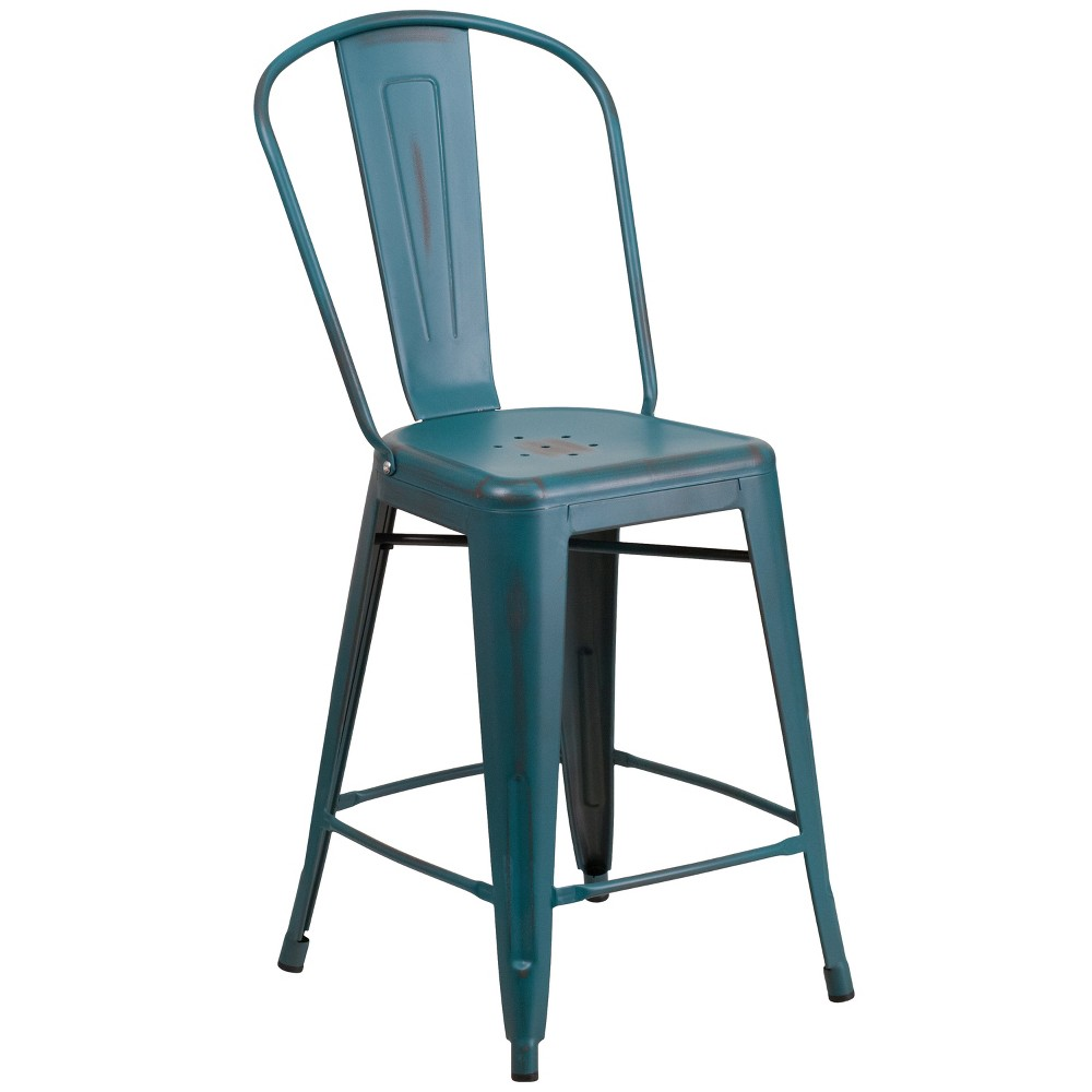 Riverstone Furniture Collection Distressed Metal Stool Blue