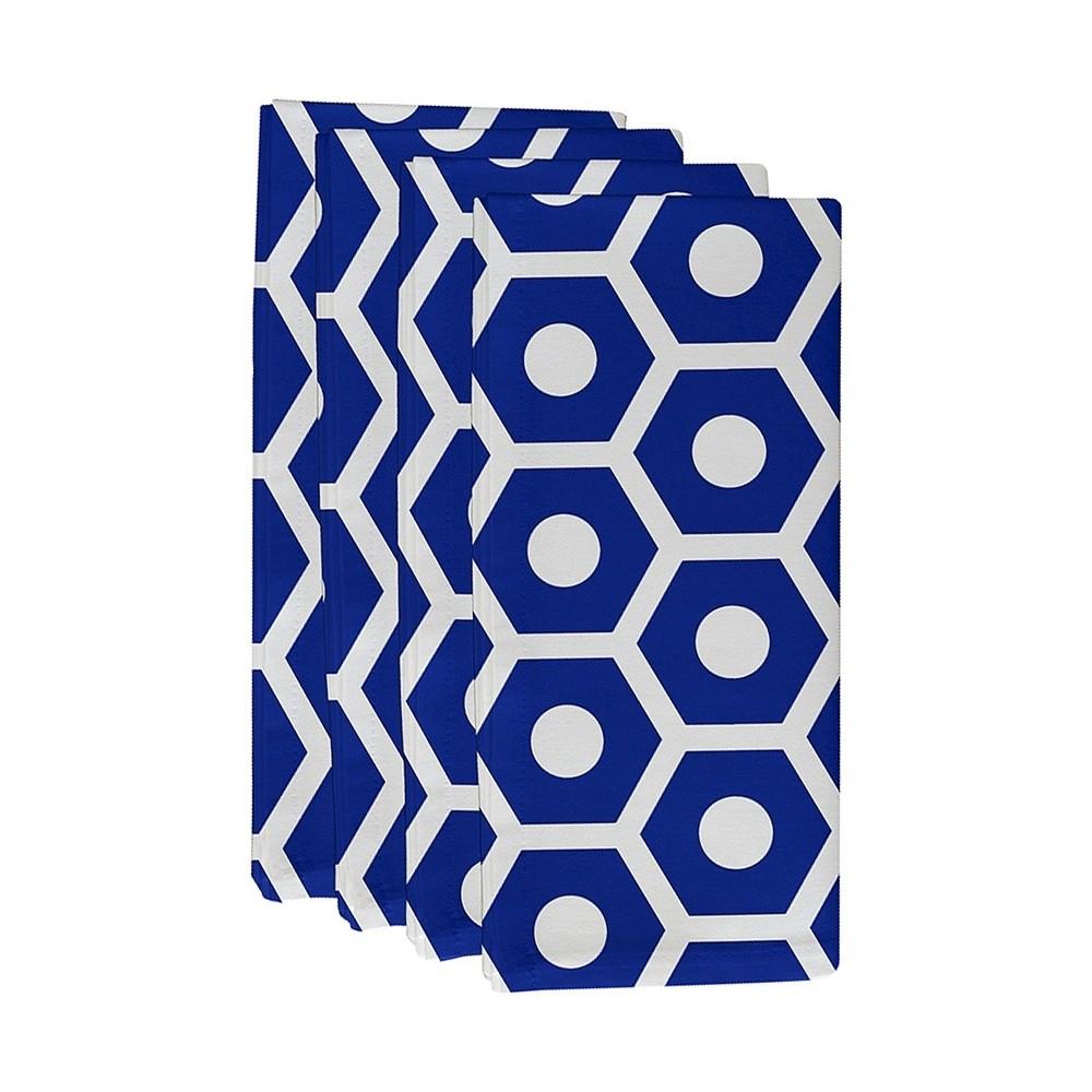 "Image of ""Dazzling Blue Geometric Throw Napkin Set (19""""X19"""") - E By Design"""