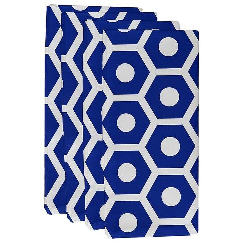 "Dazzling Blue Geometric Throw Napkin Set (19""X19"") - E By Design - image 1 of 1"