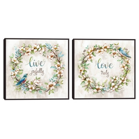 Set of 2 Live Joyfully & Love Truly By Nan Framed Canvas Art Prints - Masterpiece Art Gallery - image 1 of 4