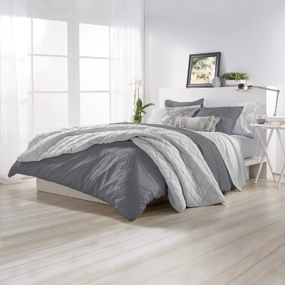 Full/Queen 3Pc Solid Ogee Comforter Set Gray - Microsculpt