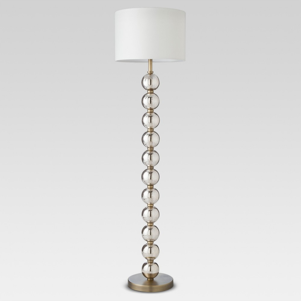 Image of Mercury Glass Stacked Ball Floor Lamp Brass Includes Energy Efficient Light Bulb - Threshold , Size: Lamp with Energy Efficient Light Bulb