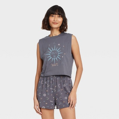 Women's Celestial Print Tank Top and Shorts Pajama Set - Grayson Threads Gray