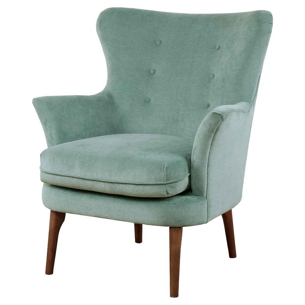 Update your living room decor with the Bea Upholstered Accent Chair. This tight back chair with flared armrest offers a unique transitional look. It features lovely seafoam upholstery with subtle button tufts. The gentle curves and rounded frame are accented by the long birch wood legs in pecan finish. Leg assembly required. Pattern: Solid.
