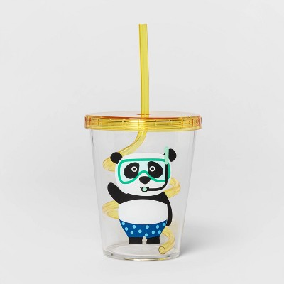 15oz Plastic Panda Tumbler with Swirly Straw Yellow - Sun Squad™