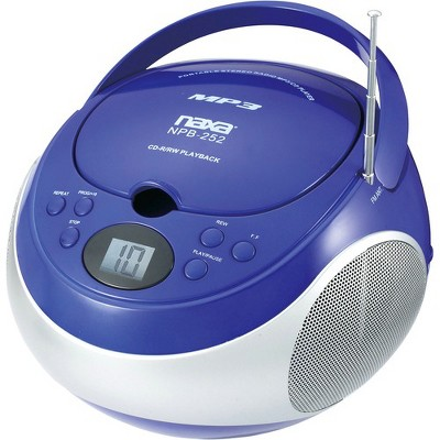 Naxa Portable MP3/CD Player with AM/FM Stereo Radio - 1 x Disc - 2.40 W Integrated Stereo Speaker - Blue - CD-DA, MP3 - Auxiliary Input