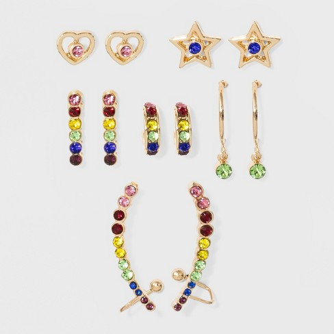 Zinc Rainbow Earring Set Wild Fable Bright Gold