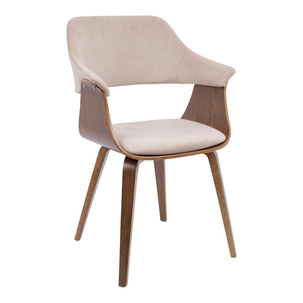 Lucci Mid Century Modern Chair Walnut/Tan Velvet - Lumisource