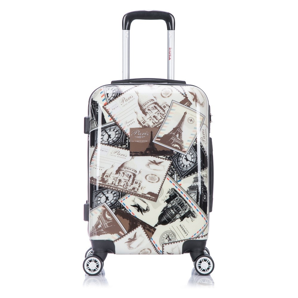 InUSA Prints 20 Hardside Spinner Carry On Suitcase - Stamps, Multi-Colored