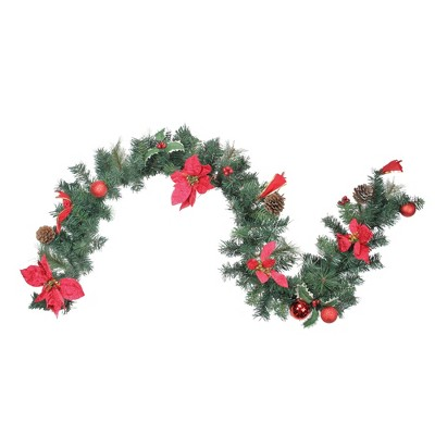 "Northlight 6' x 9"" Unlit Red Poinsettia and Pine Cone Artificial Christmas Garland"