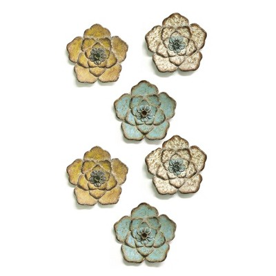 Stratton Home Decor Metal Rustic Blooming Flower Hanging Wall Decorative Home Floral Accent Sculpture Art Set, Multicolored (6 Pack)