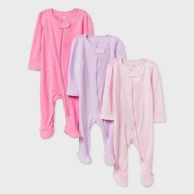 Baby Girls' 3pk Sleep N' Play - Cloud Island™ Pink Newborn