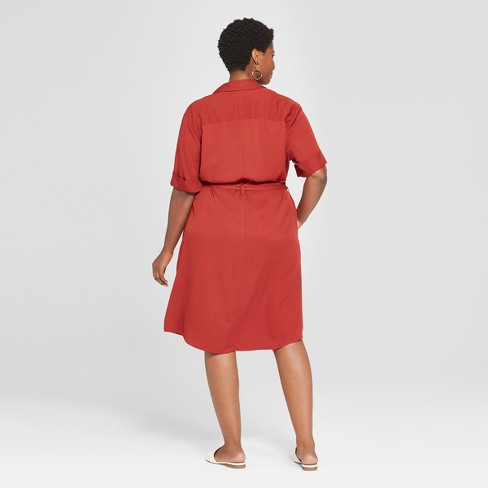 f4219714d01c5 Women s Plus Size Belted Midi Shirt Dress - Ava  ...   Target