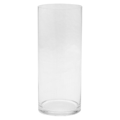 14 x6  Glass Cylinder Vase - Diamond Star