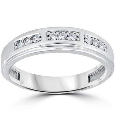 Pompeii3 1/4Ct Mens Round Diamond Polished Wedding Ring 10k White Gold