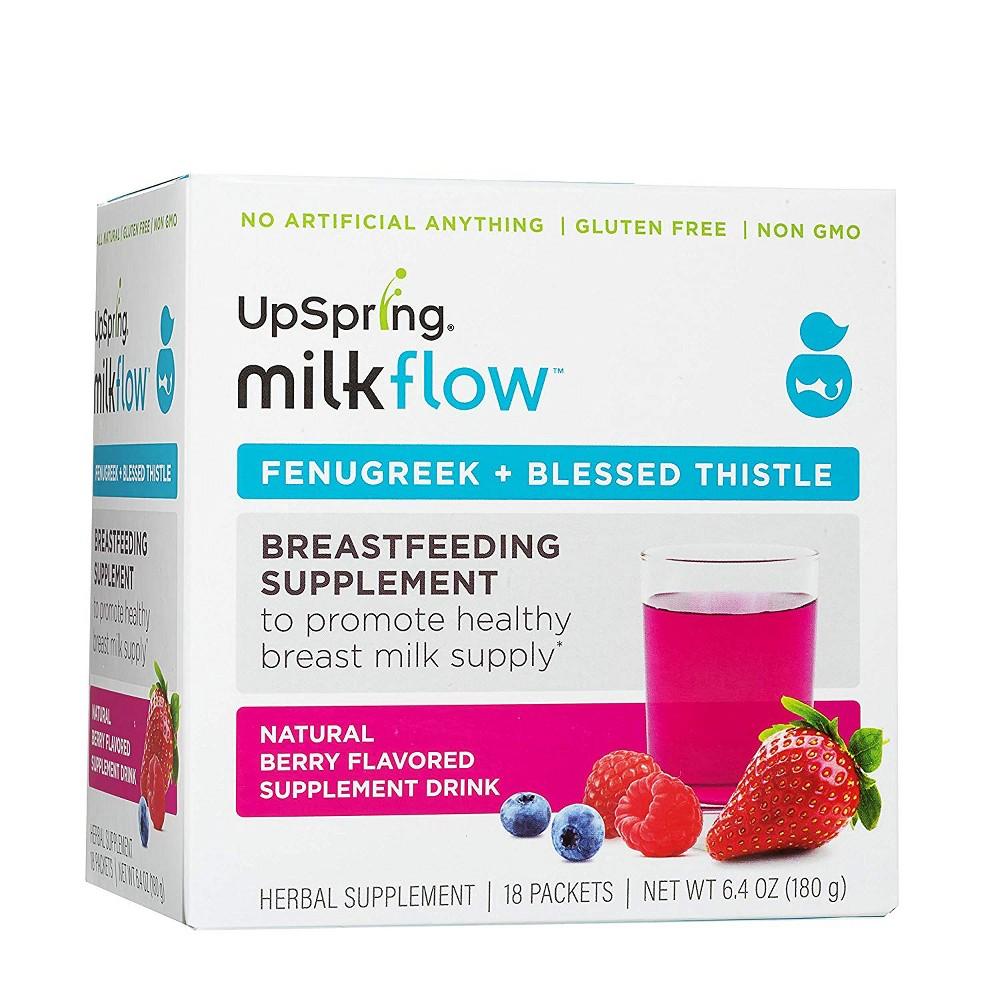 Image of UpSpring milkflow Fenugreek Drink Mix - Triple Berry - 18pk