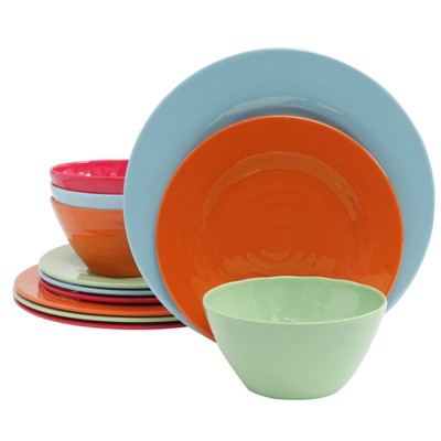 Gibson Brist 12 Piece Melamine Dinnerware Set in Assorted Colors