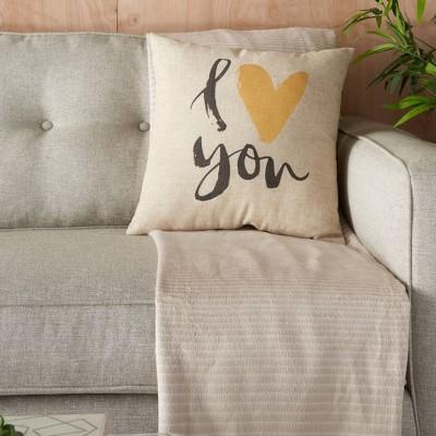 "18""x18"" I Love You Throw Pillow Natural - Kathy Ireland Home"