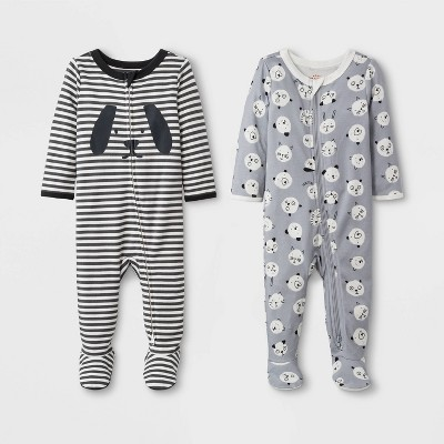 Baby Boys' 2pk Zipper Sleep 'N Play Claws/Dino - Cat & Jack™ Gray Newborn