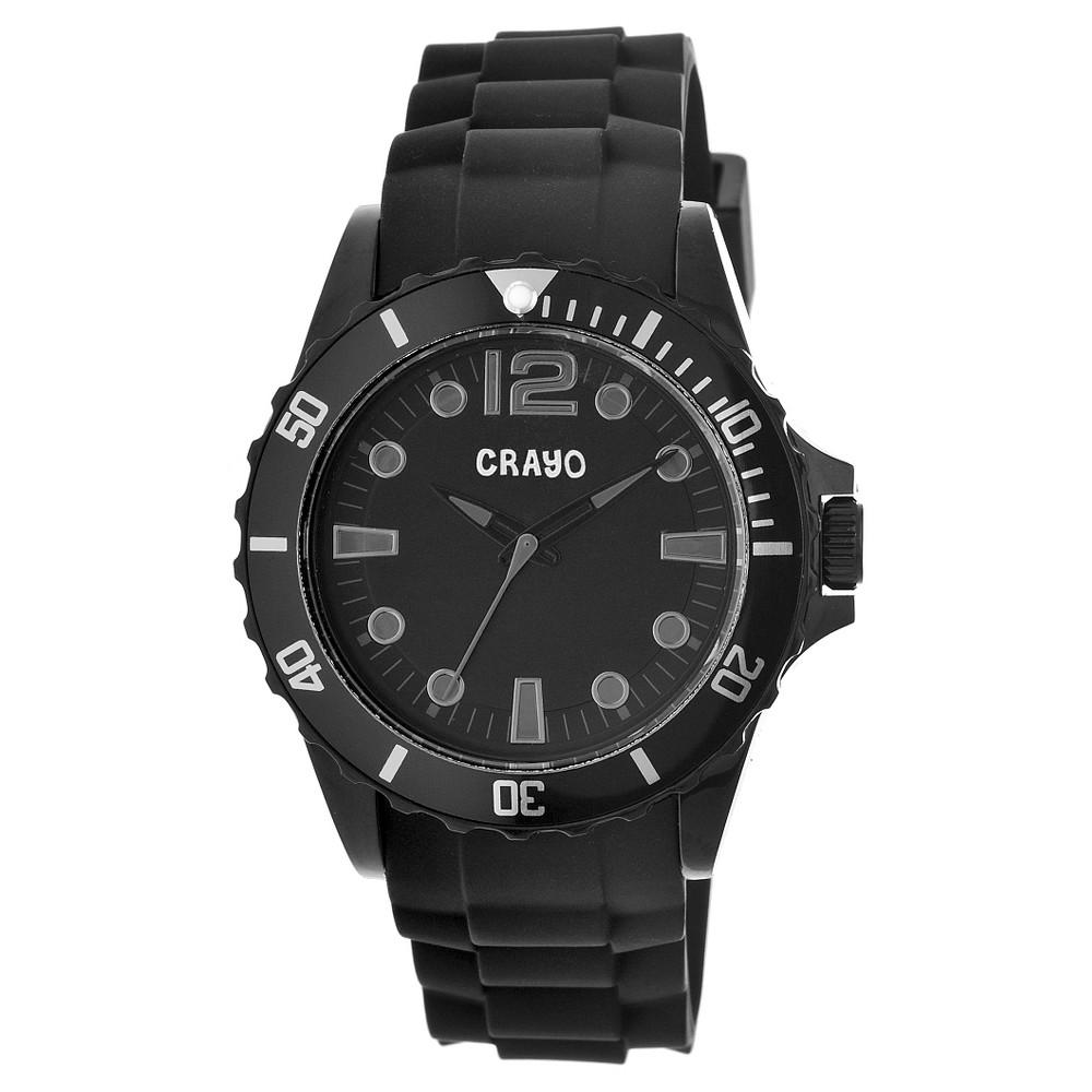 Men's Crayo Fierce Polyurethane Strap Watch-Black/Gray, black grey