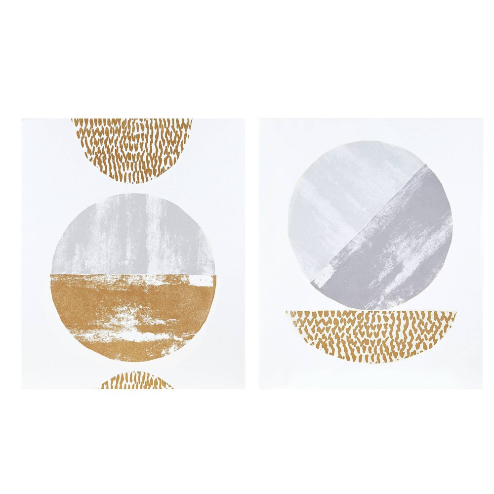 Image of 2pc Metallic Moon Gold Foil Geometric Canvas Set Hand Embellished Gray/Gold