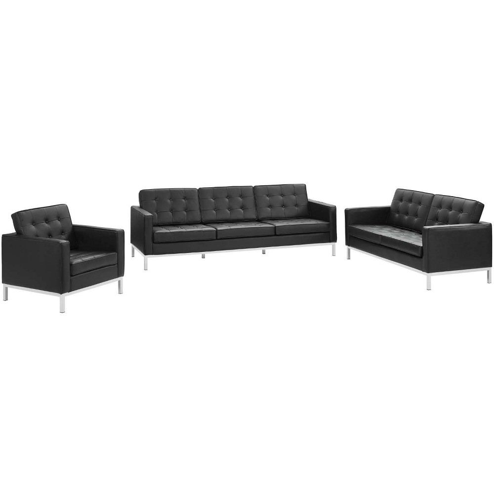 Image of 3pc Loft Leather Sofa Loveseat & Armchair Set Black - Modway