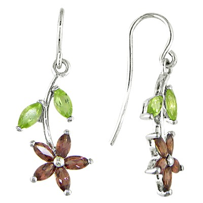 Silver Garnet and Peridot Drop Earrings - Green/Brown