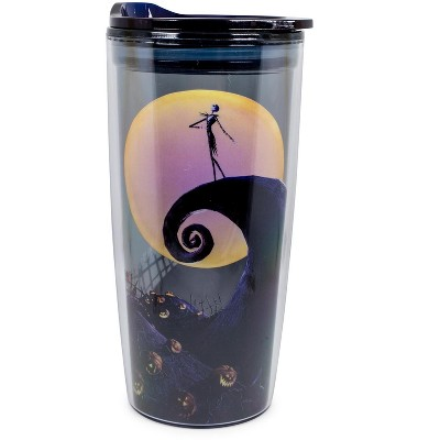 Silver Buffalo Nightmare Before Christmas Jack Spiral Hill  20oz Double Wall Travel Tumbler