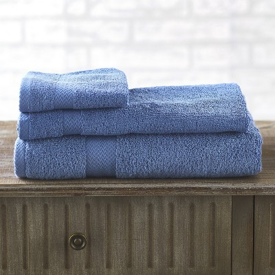 Lakeside Low Twist Cotton Quick Drying Bathroom Towel Set - 3 Pieces