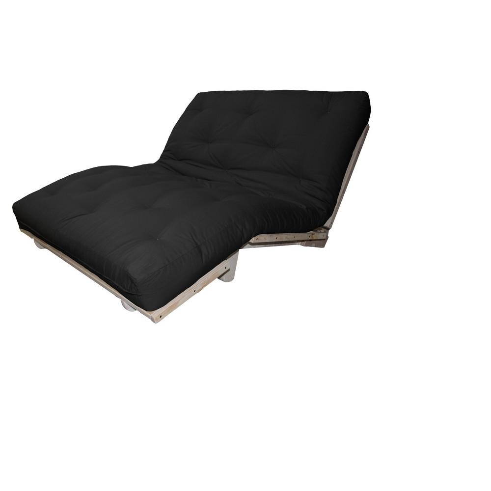 6 Austin True Cotton/Foam Sit, Lounge, or Sleep Futon Sofa Sleeper Bed Twill Fabric Black - Epic Furnishings