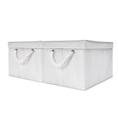 StorageWorks Set of 2 (34L)Rectangle Polyester Storage Bin with Lid and Cotton Rope Handles Ivory
