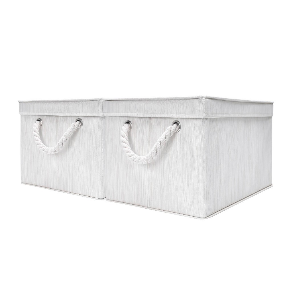 Storageworks Set Of 2 34l Rectangle Polyester Storage Bin With Lid And Cotton Rope Handles Ivory