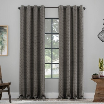 Distressed Grid Recycled Fiber Semi-Sheer Grommet Top Curtain Panel - Clean Window