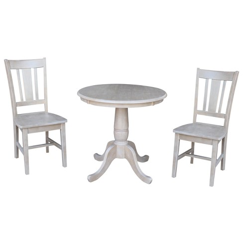Solid Wood Round Pedestal Dining Table And 2 San Remo Chairs Washed Gray Taupe 3pc Set International Concepts