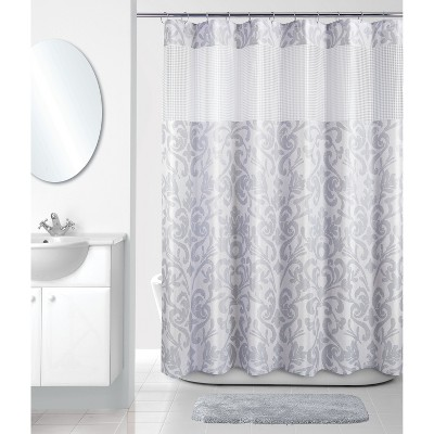 Damask Retreat Shower Curtain Gray/White - Allure Home Creation