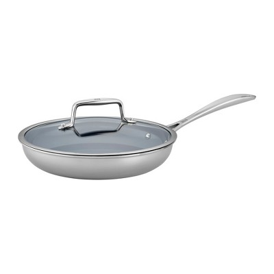 ZWILLING Clad CFX 9.5-inch Stainless Steel Ceramic Nonstick Fry Pan with Lid