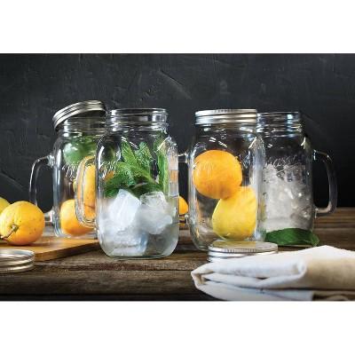 32oz 4pk Glass Drinking Jars with Handles - Mason Craft & More