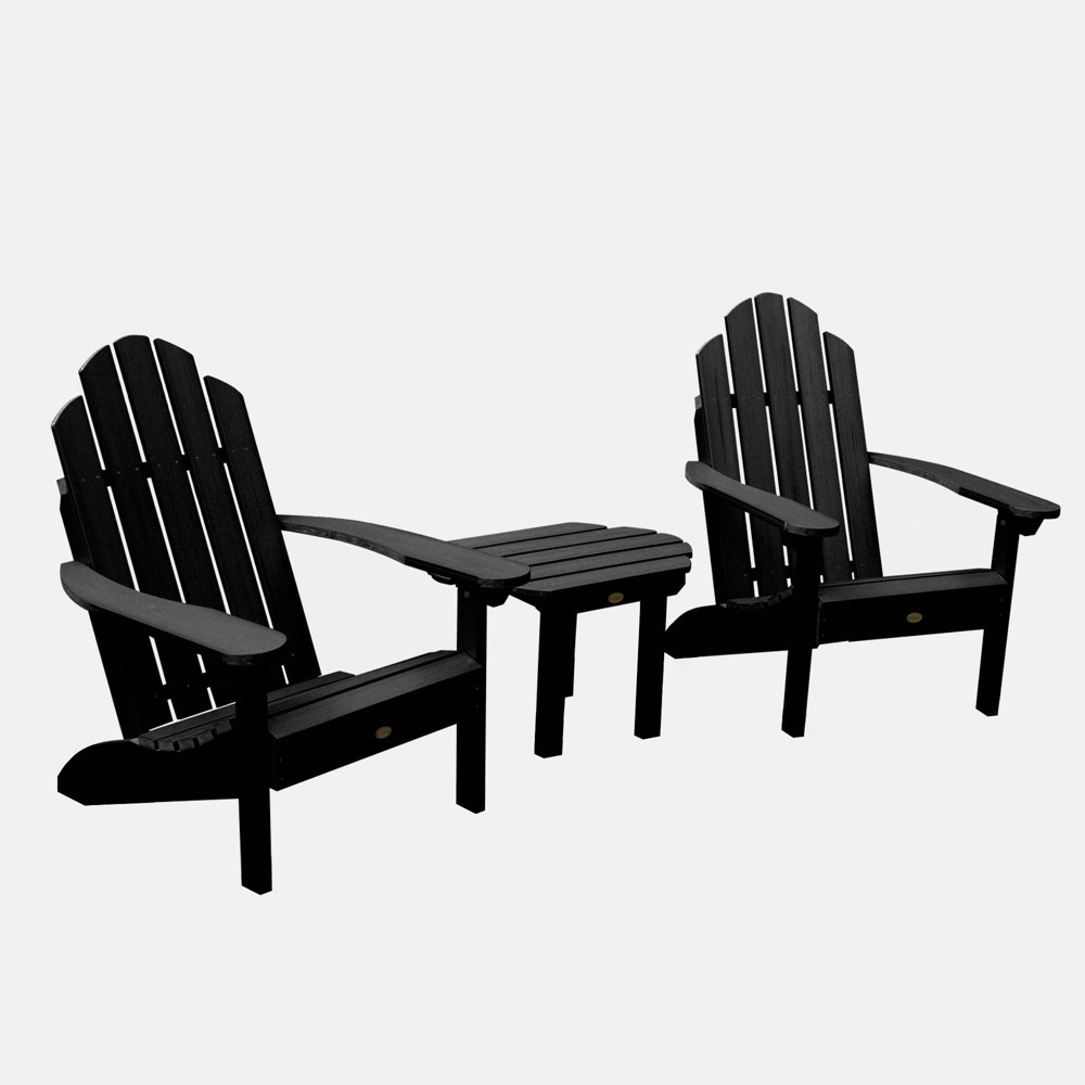 Image of 3pc Classic Westport Adirondack Chair Patio Set Black - highwood