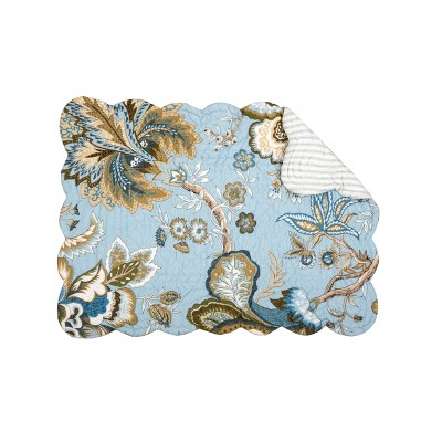 C&F Home Bethany Blue Cotton Quilted Rectangular Reversible Placemat Set of 6