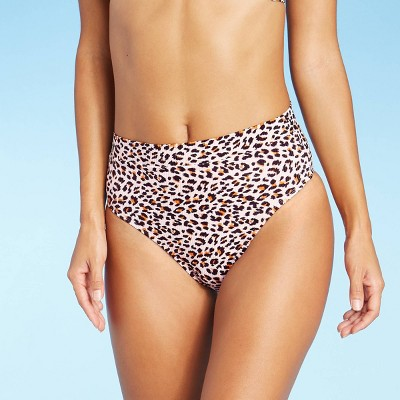 Juniors' Ribbed Cheeky High Leg High Waist Bikini Bottom - Xhilaration™ Animal Print