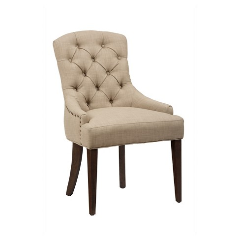 Geneva Hills Tufted Side Chair Wood Linen Jofran Inc