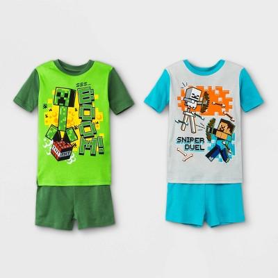 Boys' Minecraft 4pc Pajama Set - Green/Blue