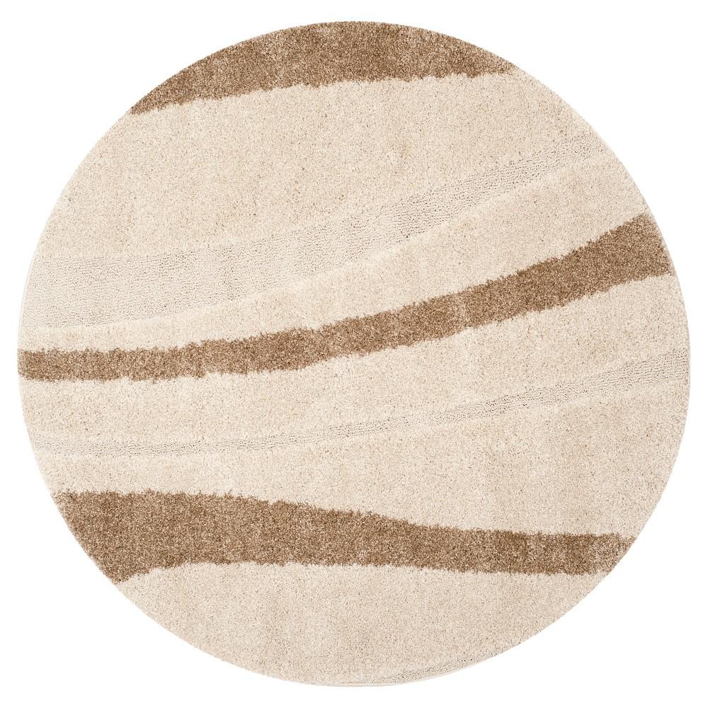 Cream/Dark Brown Abstract Tufted Round Area Rug - (5' Round) - Safavieh, Ivory/Dark Brown